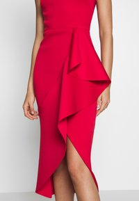 True Violet - ONE SHOULDER MIDI DRESS WITH FRILL WRAP HEM - Occasion wear - red - 6