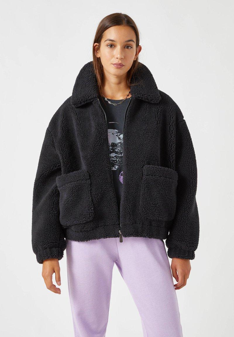 PULL&BEAR - Fleece jacket - black