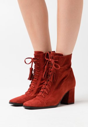 Lace-up ankle boots - rust