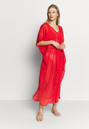PLAIN TIE FRONT COVER UP - Beach accessory - red