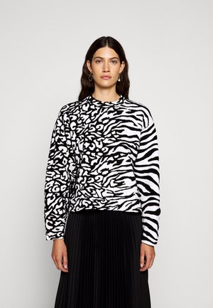 ANIMAL CROPPED - Sweter - white/black