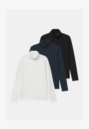 NKNVIGGO SLIMROLLNECK 3 PACK - T-shirt à manches longues - dark sapphire/snow white/black