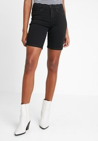 ONLY - ONLRAIN LIFE MID LONG - Denim shorts - black - 0