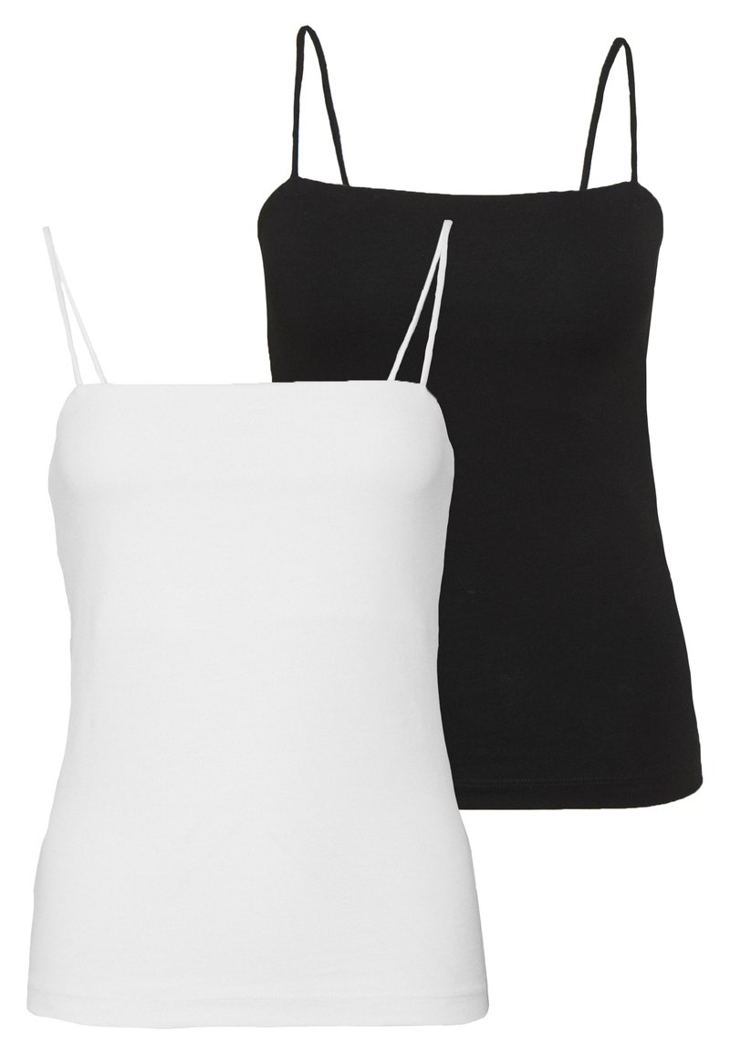 Gina Tricot - SCARLETT SINGLET 2 PACK - Topper - black/white