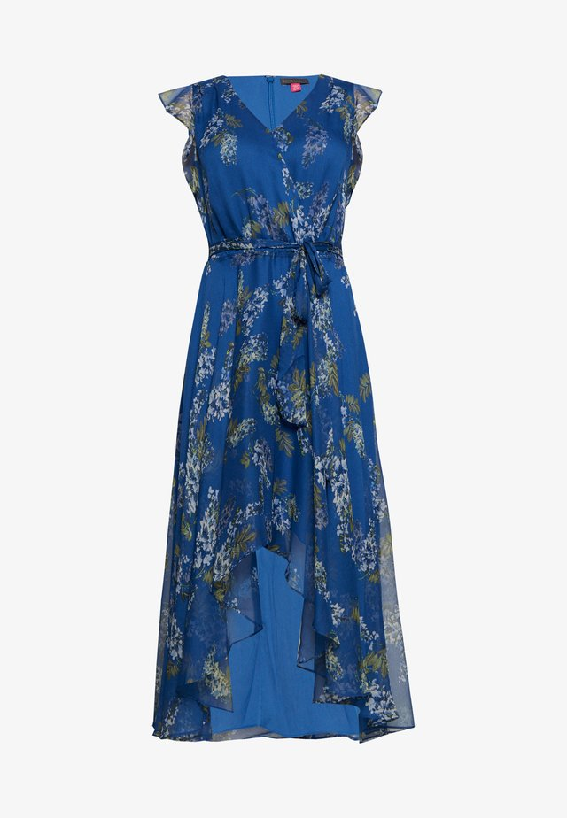 RUFFLED WEEPING WILLOWS TIE WRAP - Vestido informal - blue