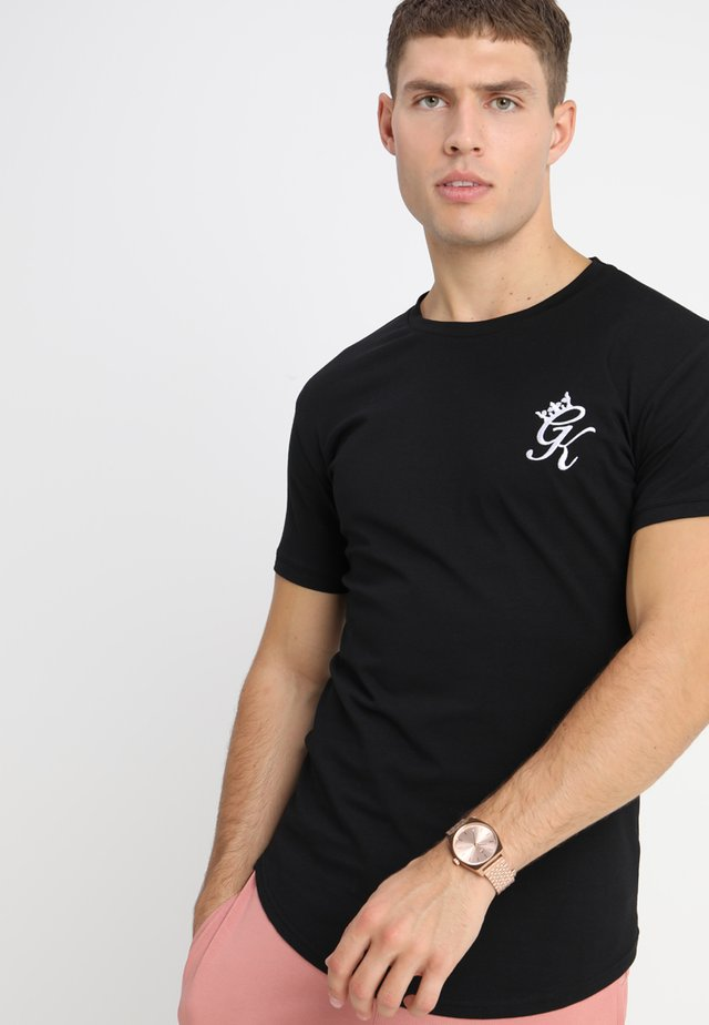 LONG LINE CURVE TEE - T-shirt z nadrukiem - black