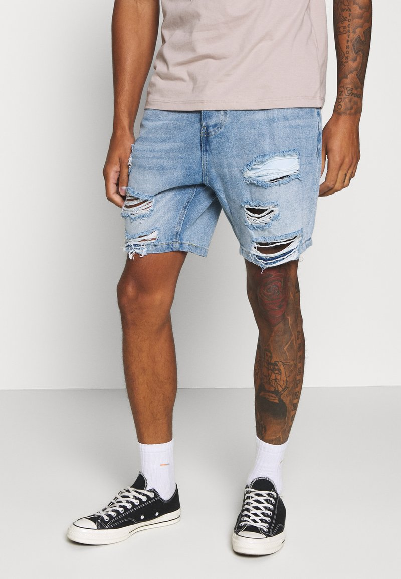 Brave Soul - DUKE - Denim shorts - light blue