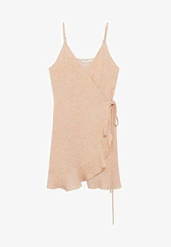 MIT BLUMENMUSTER - Korte jurk - beige