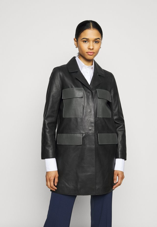 PAULINE CONTRAST POCKET COAT - Leather jacket - black