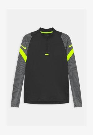 DRY STRIKE - Sports shirt - black/smoke grey/volt