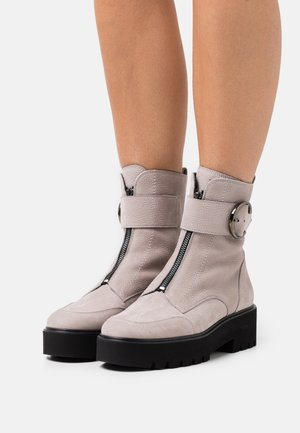 Platform ankle boots - pearl