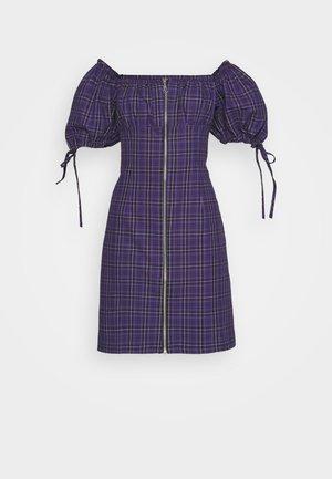 CHECK MINI DRESS WITH TIES AND ZIP - Kjole - purple