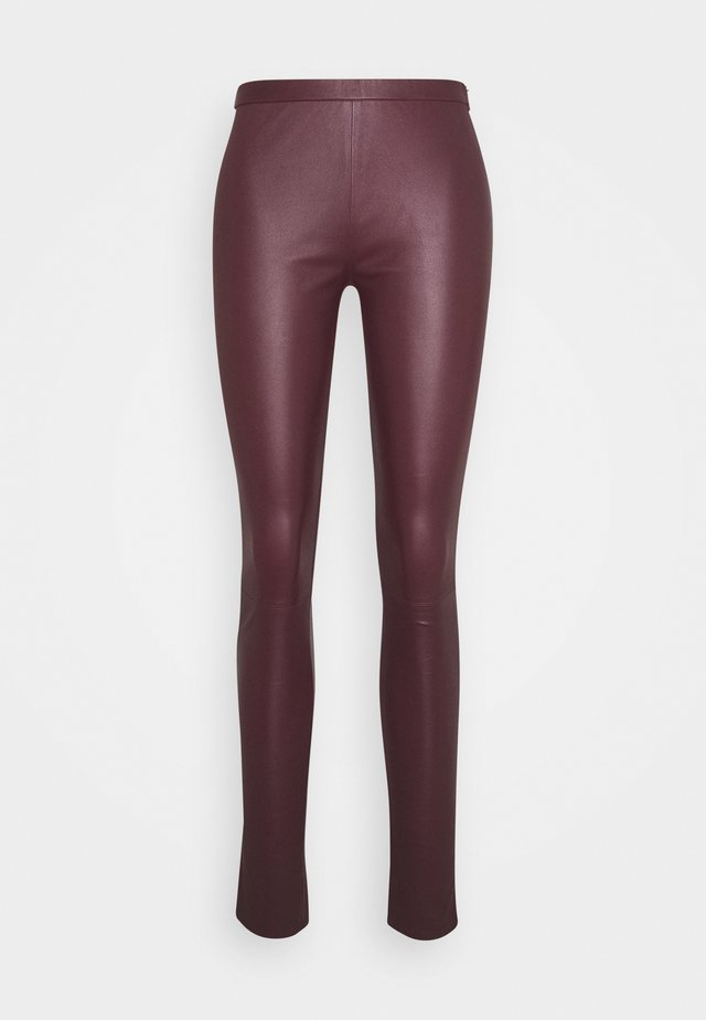 PLAIN WITH ZIP AT TOP - Leren broek - bordeaux