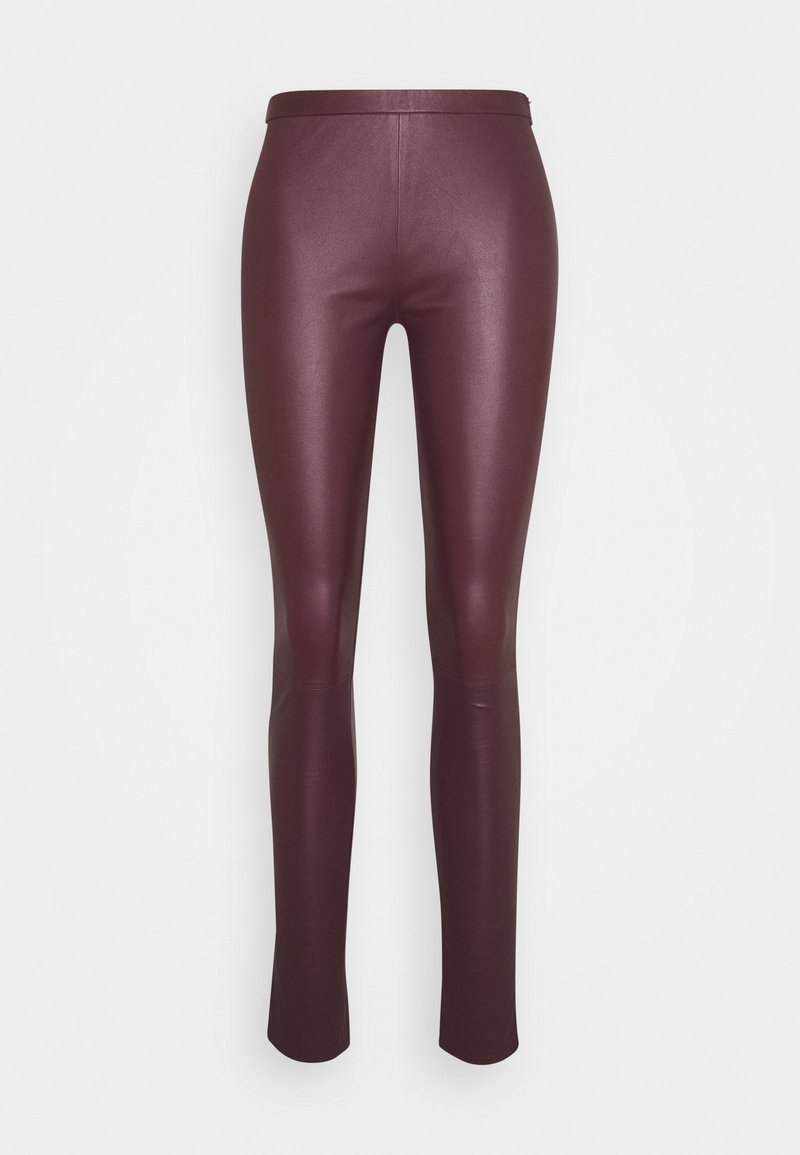 DEPECHE - PLAIN WITH ZIP AT TOP - Kožené kalhoty - bordeaux