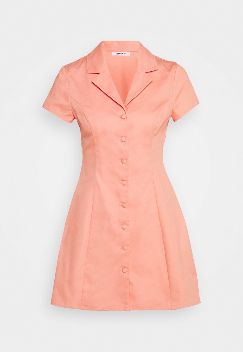 Glamorous - A LINE MINI DRESS WITH LAPEL COLLAR - Abito a camicia - coral
