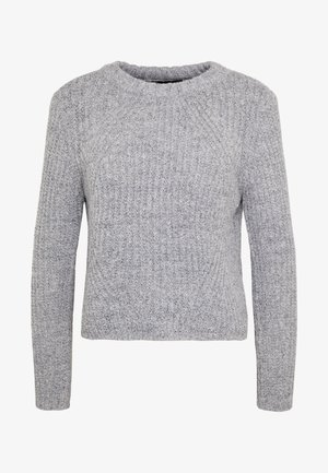 ONLFIONA - Strikkegenser - medium grey melange/ black melang
