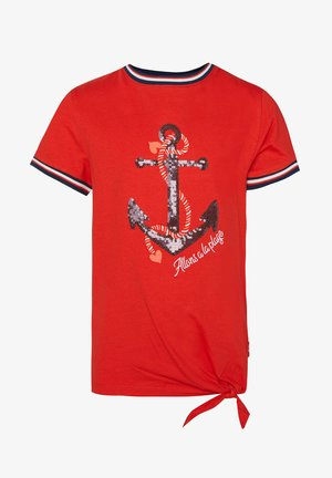 MET PAILLETTENAPPLICATIE - T-shirt con stampa - red