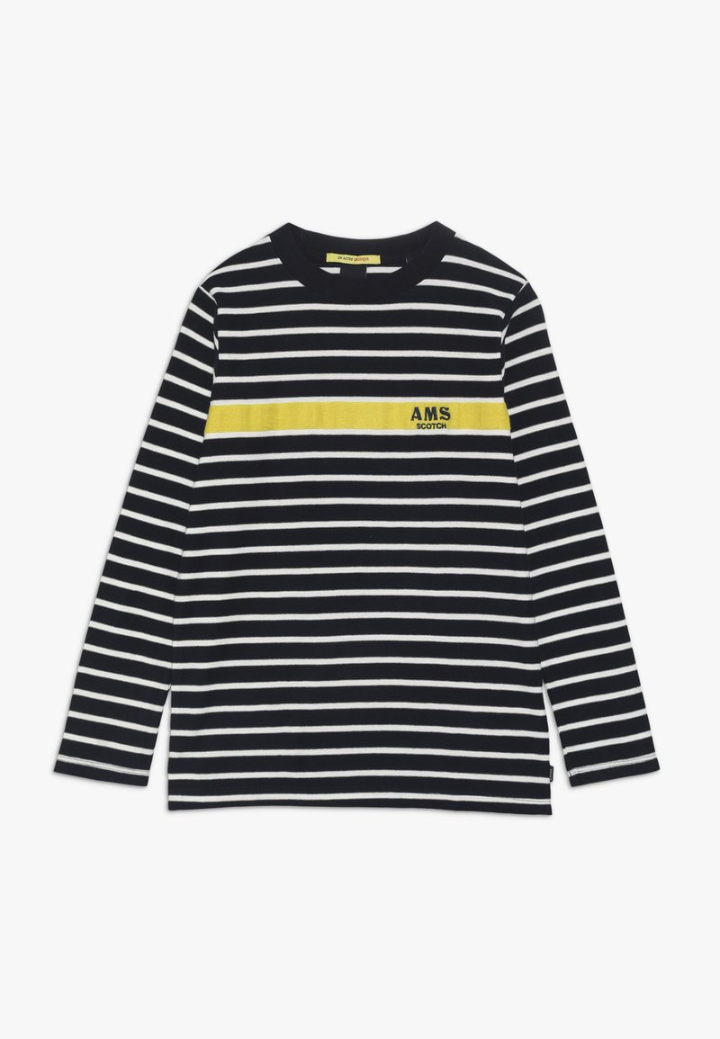 Scotch & Soda - LONG SLEEVE TEE WITH CONTRAST CHEST STRIPE - Long sleeved top - blue