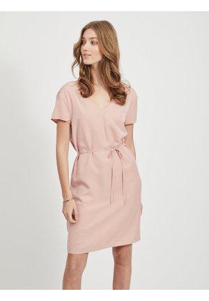 OBJEILEEN LACE V-NECK DRESS - Vestido informal - misty rose