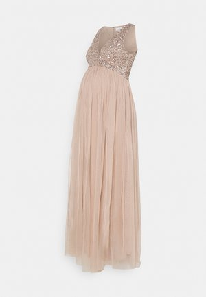 WRAP BODICE SLEEVELESS SEQUIN MAXI - Iltapuku - taupe blush
