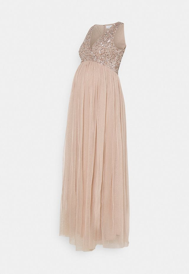 WRAP BODICE SLEEVELESS SEQUIN MAXI - Ballkjole - taupe blush