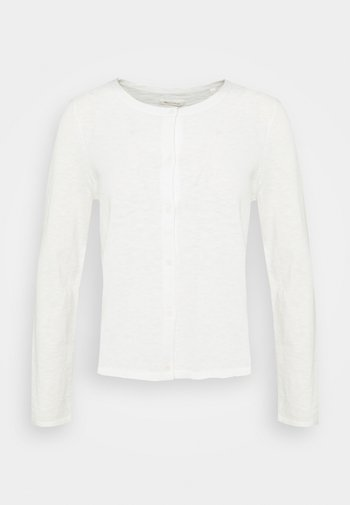 CARDIGAN LONGSLEEVE ASHAPE WITH STRUCTURE DETAILS AND BUTTON - Cardigan - paper white