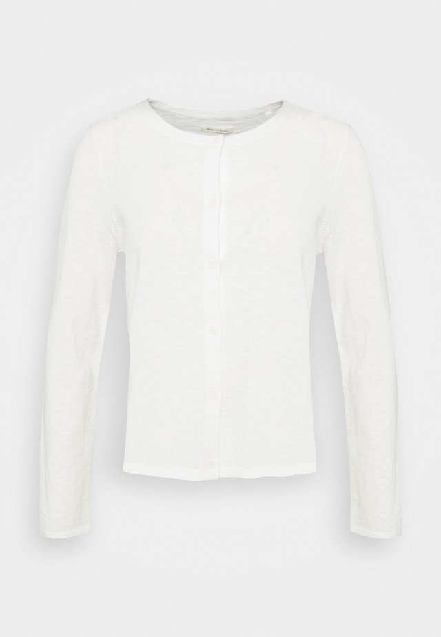 CARDIGAN LONGSLEEVE ASHAPE WITH STRUCTURE DETAILS AND BUTTON - Kardigan - paper white