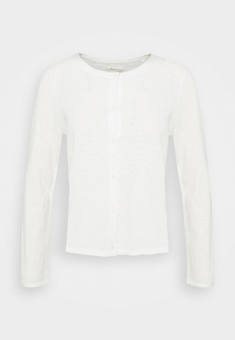 Marc O'Polo - CARDIGAN LONGSLEEVE ASHAPE WITH STRUCTURE DETAILS AND BUTTON - Kardigan - paper white