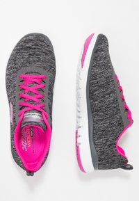 Skechers Wide Fit - FLEX APPEAL 3.0 - Trainers - black/charcoal/hot pink - 3
