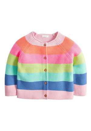 MULTI FLURO RAINBOW STRIPE CARDIGAN (3MTHS-7YRS) - Cardigan - pink