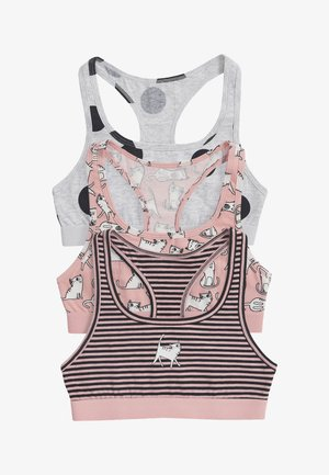 3 PACK CAT CHARACTER RACER BACK CROP TOP - Top - pink