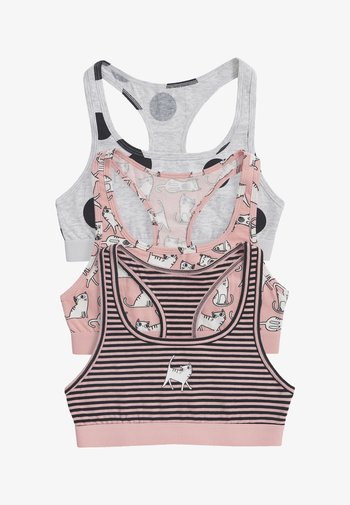3 PACK CAT CHARACTER RACER BACK CROP TOP