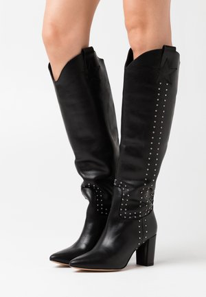 HUGO HIGH STUD - Cowboy- / Bikerboots - black
