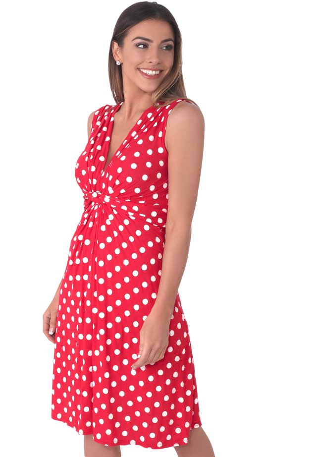 KNOT FRONT POLKA DOT - Day dress - red/white