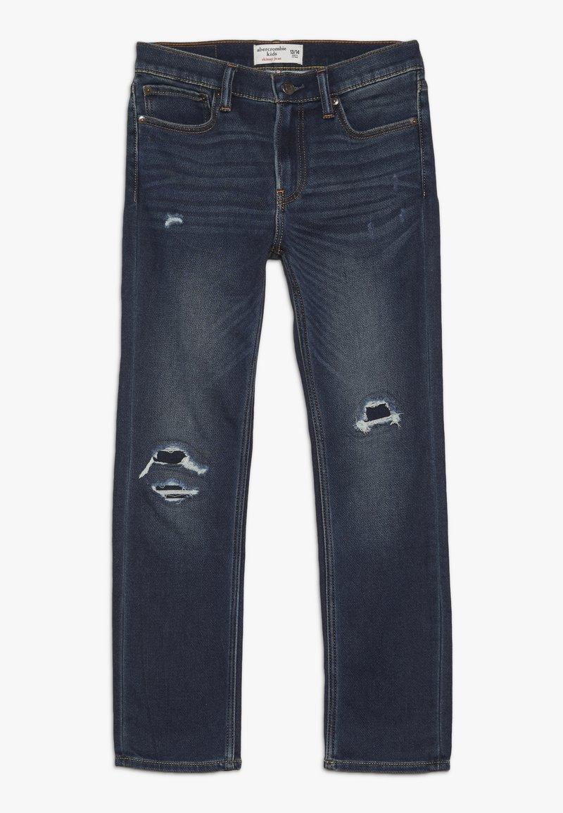 Abercrombie & Fitch - DARK DESTROY SKINNY  - Skinny džíny - dark blue