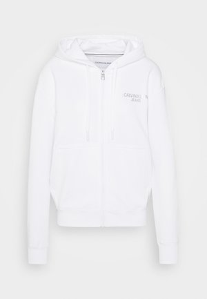 INSTIT BACK LOGO ZIP THROUGH - Zip-up hoodie - bright white