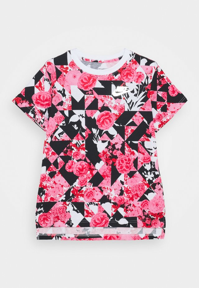 G NSW ICONCLASH AOP DPTL - T-shirts med print - university red/black/pink
