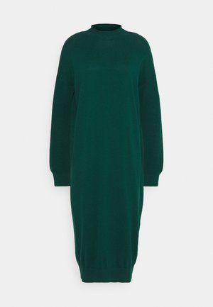 ROLLNECK - Pletené šaty - dark teal green