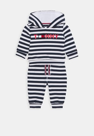 BABY STRIPED HOODIE SET - Mikina na zip - blue