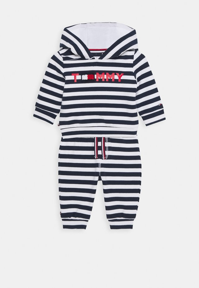 BABY STRIPED HOODIE SET - veste en sweat zippée - blue