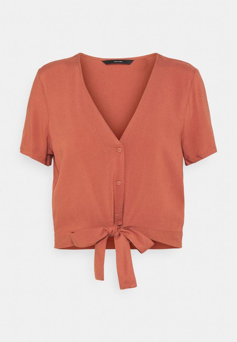 Vero Moda - VMSIMPLY EASY TIE  - T-shirt print - marsala