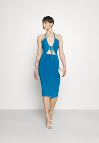 Missguided - HALTER NECK CHANNEL CUT OUT - Jersey dress - blue - 1