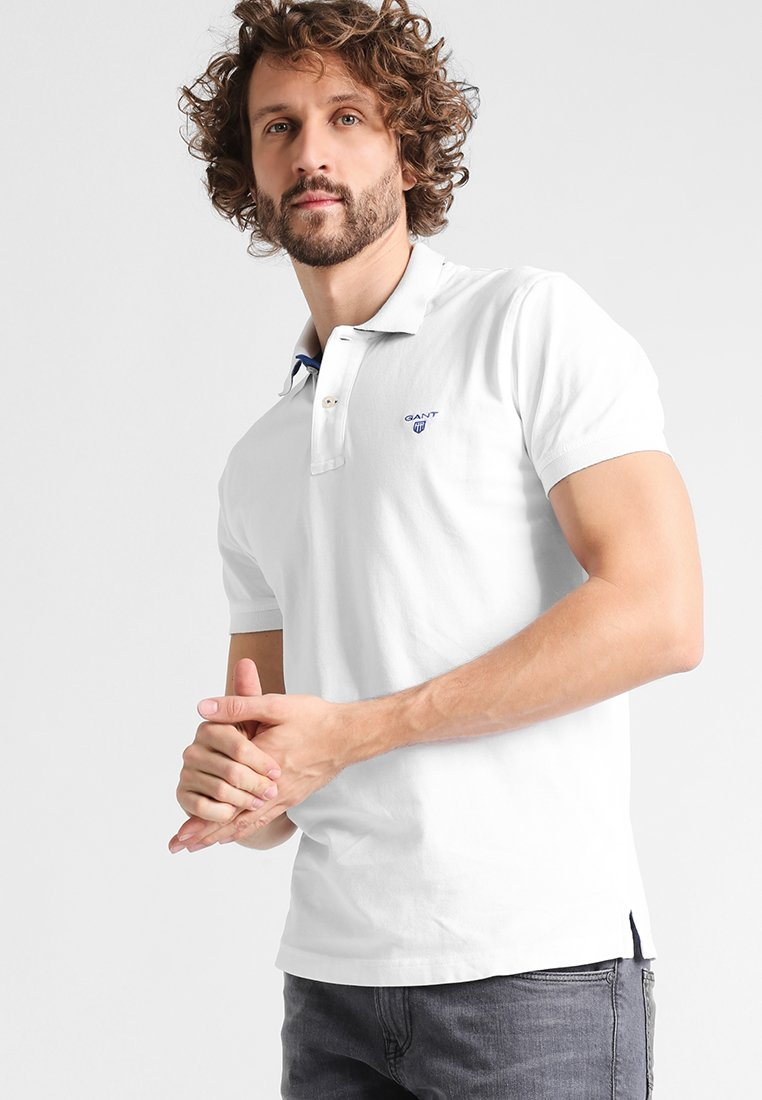 GANT - CONTRAST COLLAR RUGGER - Polo shirt - white
