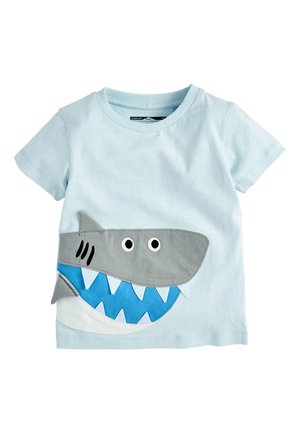 BLUE SHORT SLEEVE APPLIQUé SHARK T-SHIRT (3MTHS-7YRS) - Print T-shirt - blue