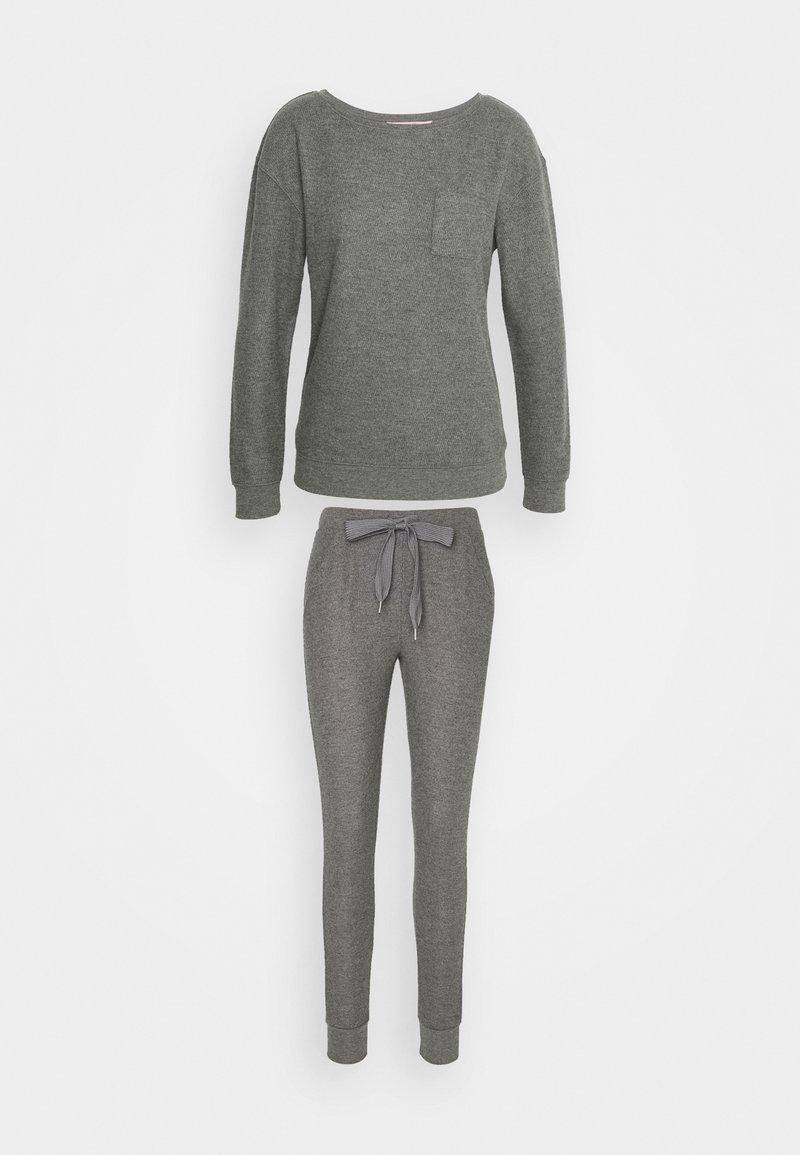 Hunkemöller - PANT BRUSHED SET - Pyjama set - mid grey