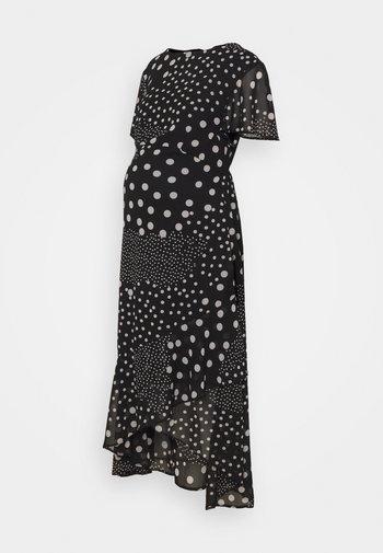 MATERNITY HI LO HEM SPOT DRESS - Žerzejové šaty - black