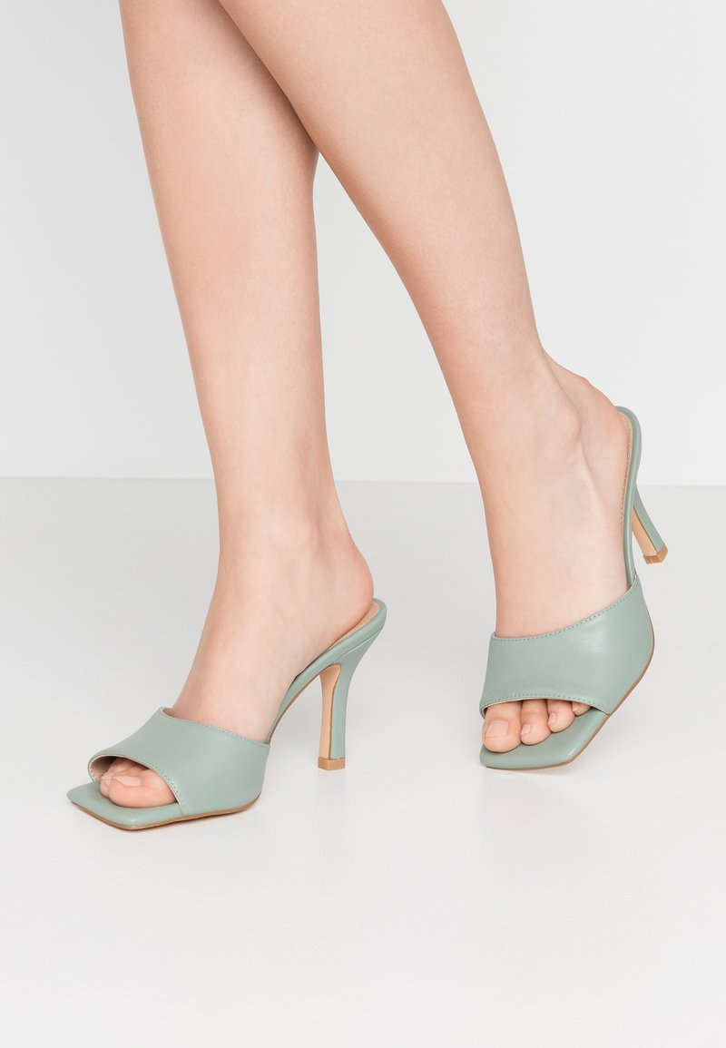 NA-KD - SQUARED TOE STILETTO MULES - Heeled mules - dusty green
