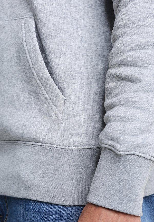GANT SHIELD HOODIE - Bluza z kapturem - grey melange/szary melanż Odzież Męska FGXN