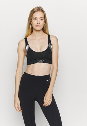 INDY METALLIC LOGO BRA - Sport BH - black/metallic silver/light smoke grey
