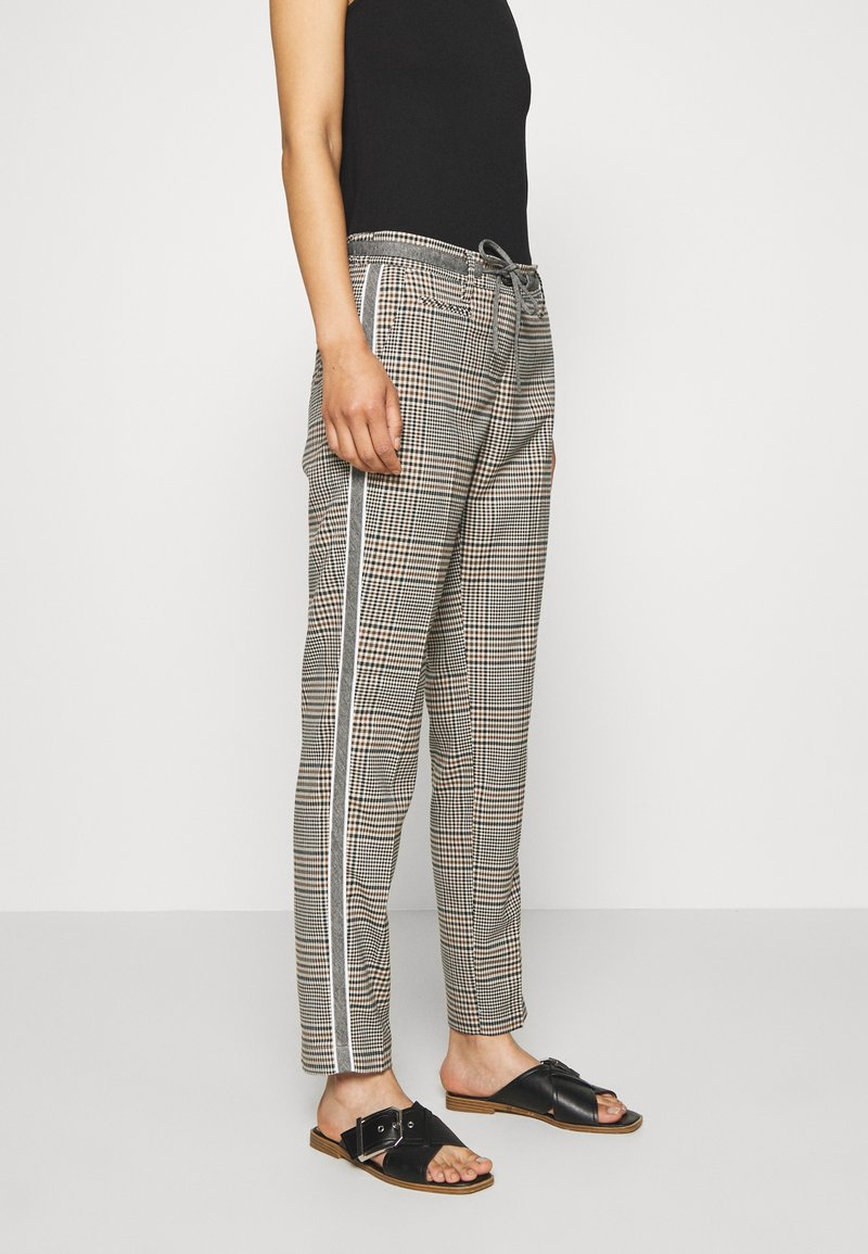 Opus - MORIEL MIXED CHECK - Trousers - sandshell